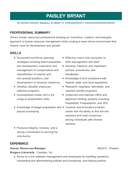 Human Resources Manager resume format New Jersey