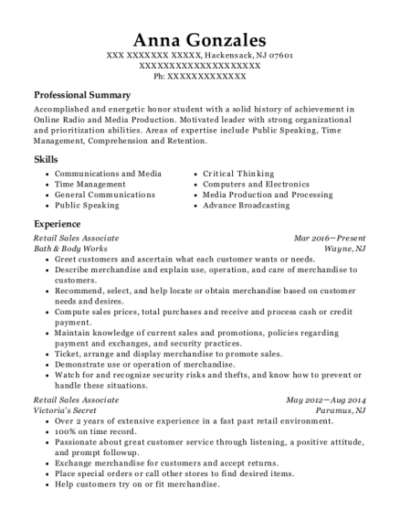 Retail Sales Associate resume sample New Jersey