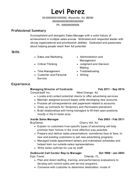 Managing Director of Contracts resume template New Jersey