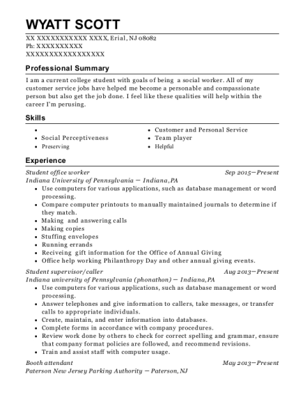Student office worker resume sample New Jersey