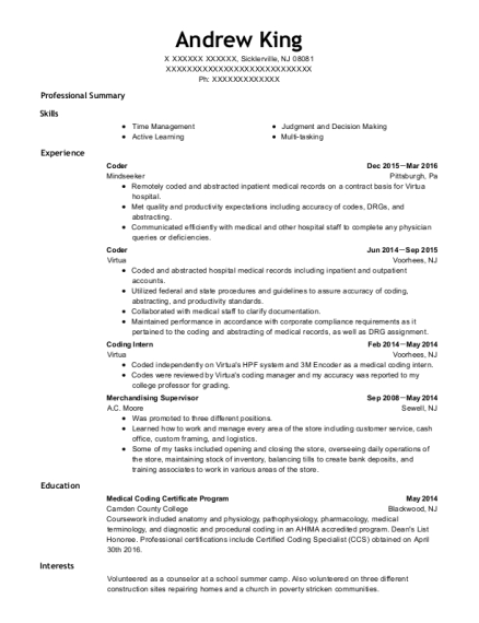 Coder resume example New Jersey