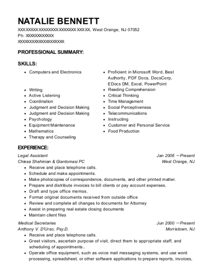Legal Assistant resume template New Jersey