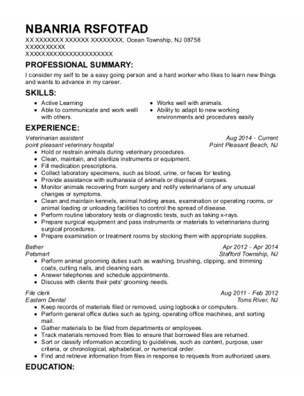 Veterinarian assistant resume template New Jersey