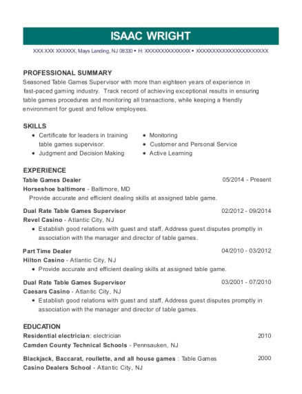 Table Games Dealer resume template New Jersey
