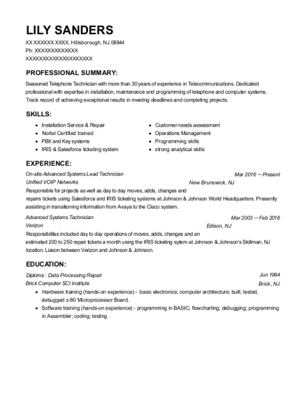 On site Advanced Systems Lead Technician resume format New Jersey