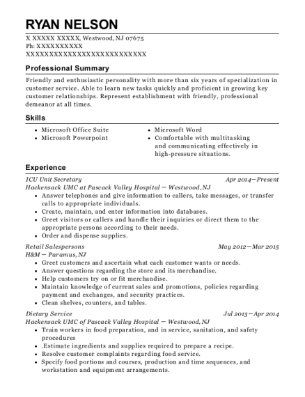 ICU Unit Secretary resume example New Jersey