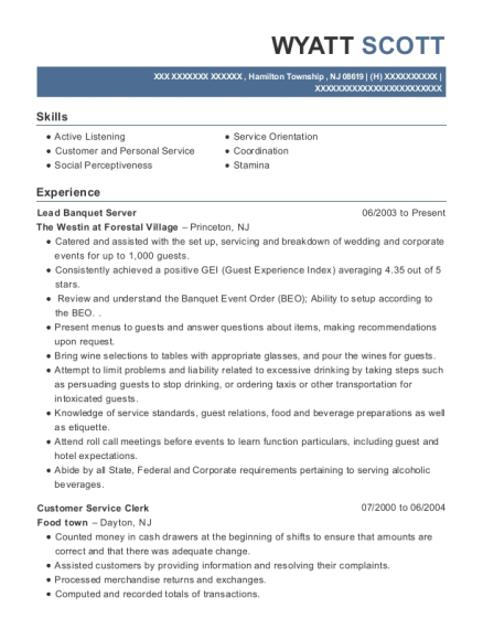 Lead Banquet Server resume sample New Jersey