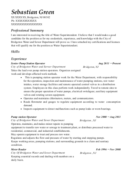 Senior Pump Station Operator resume example New Jersey