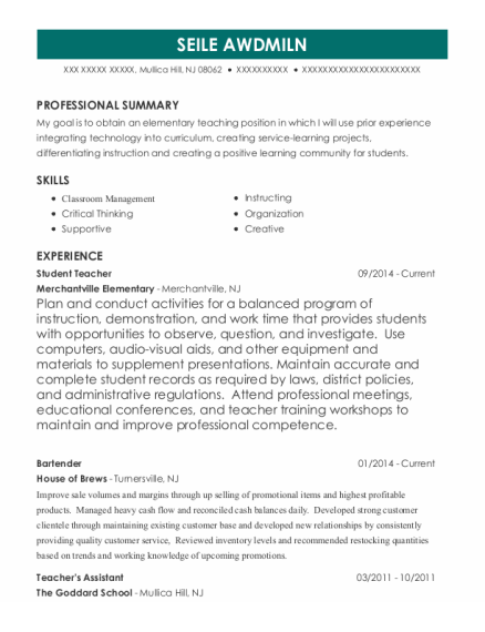 Student Teacher resume format New Jersey