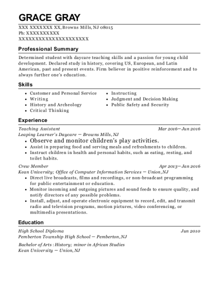 Teaching Assistant resume format New Jersey