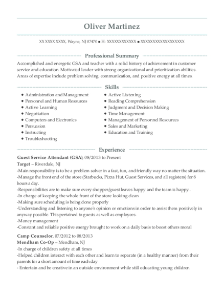 Guest Service Attendant resume sample New Jersey