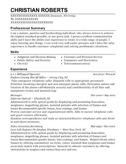 9 1 1 Billingual Operator resume format New Jersey