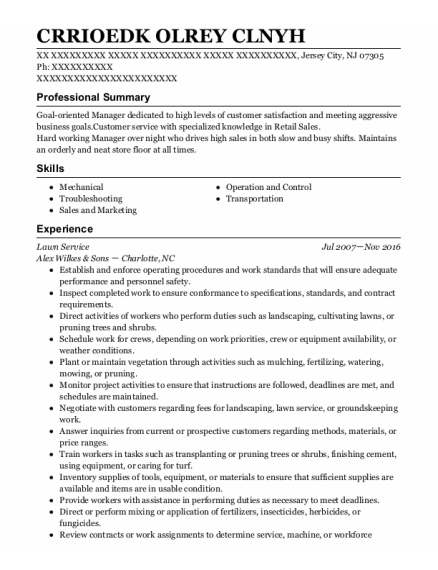 Lawn Service resume format New Jersey