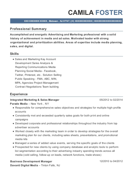 Integrated Marketing & Sales Manager resume format New Jersey