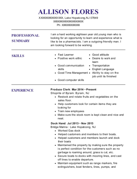Produce Clerk resume template New Jersey