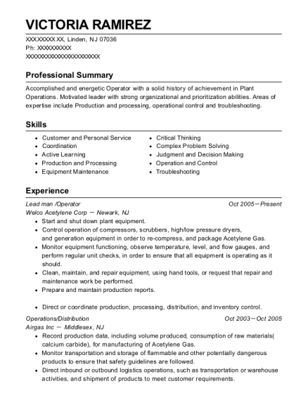 Lead man resume example New Jersey