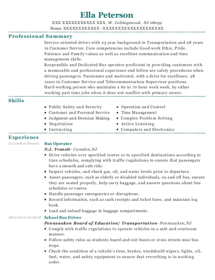Bus Operator resume template New Jersey