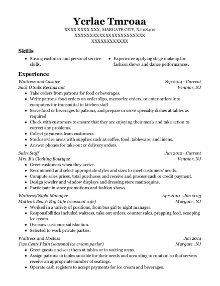 Waitress and Cashier resume sample New Jersey