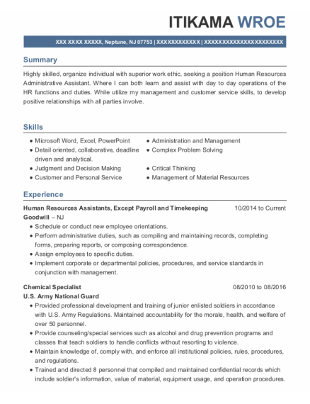 Chemical Specialist resume format New Jersey