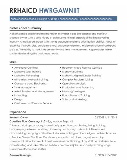 Business Owner resume template New Jersey