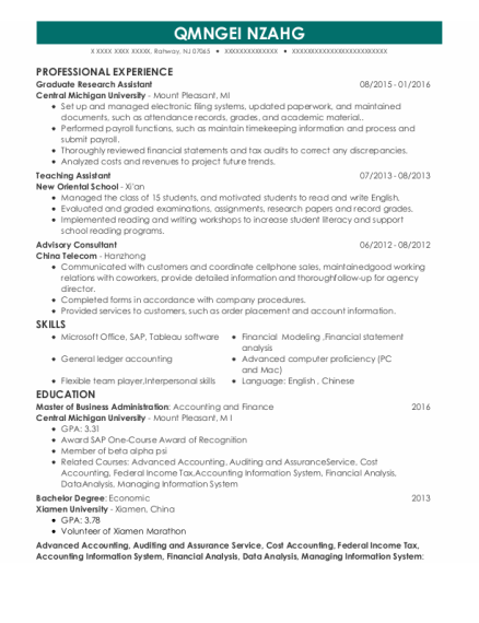 Graduate Research Assistant resume format New Jersey
