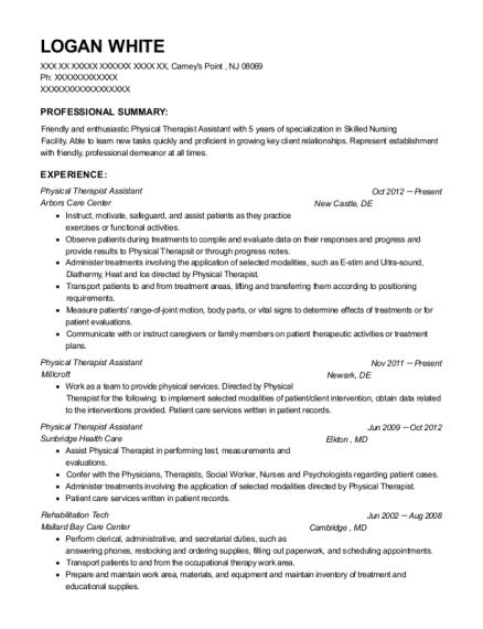 Physical Therapist Assistant resume sample New Jersey