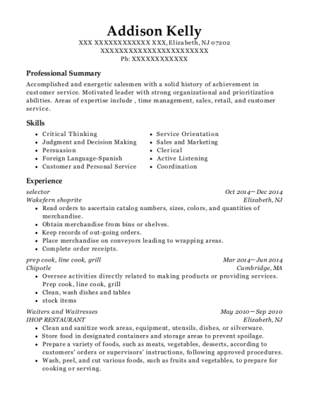 selector resume template New Jersey