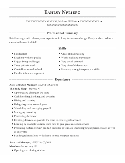 Assistant Shop Manager resume format New Jersey