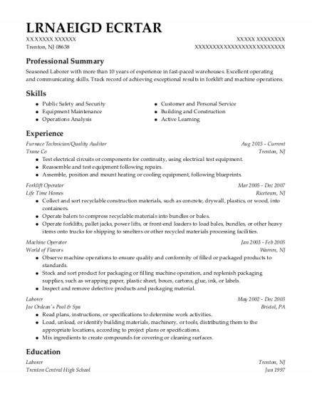 Quality Auditor resume sample New Jersey