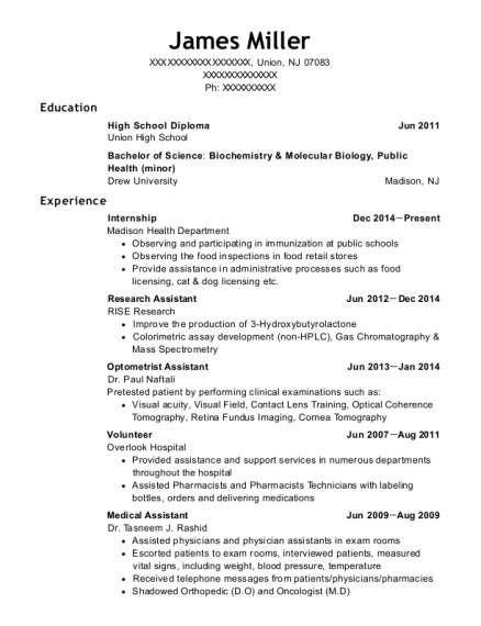 Internship resume example New Jersey