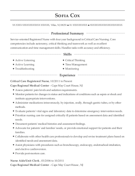 Critical Care Registered Nurse resume sample New Jersey