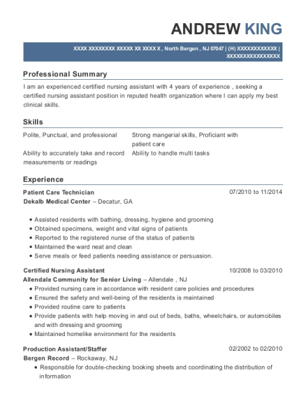 Patient Care Technician resume template New Jersey