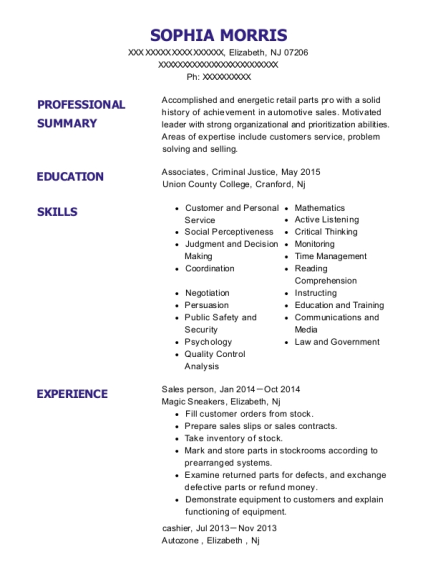 Sales person resume example New Jersey