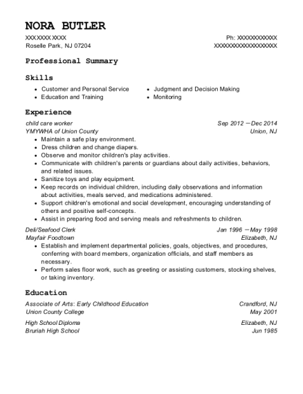 child care worker resume sample New Jersey