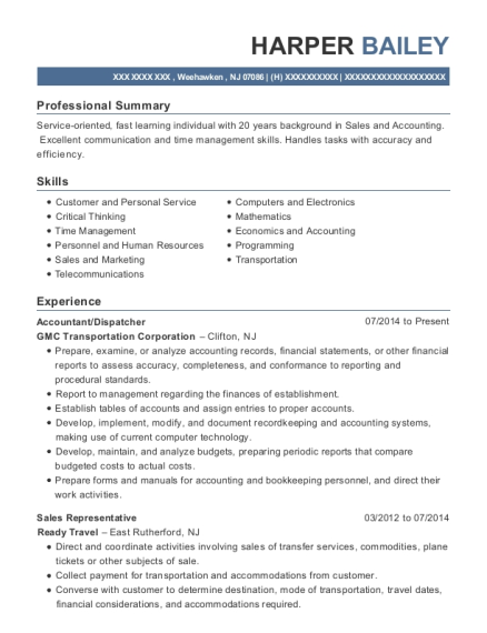 Accountant resume format New Jersey