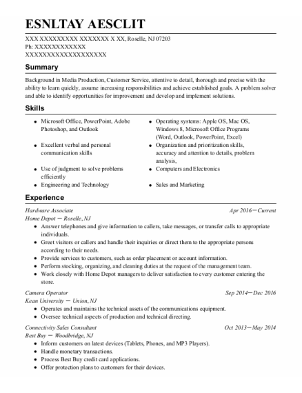 Hardware Associate resume example New Jersey