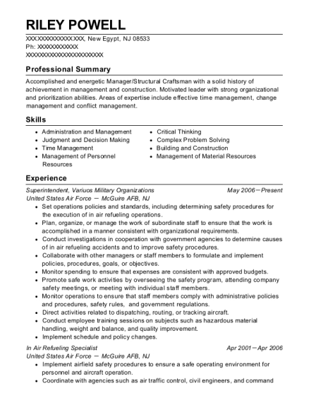 Superintendent resume example New Jersey