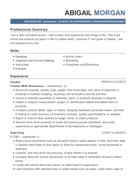 Checker resume example New Jersey