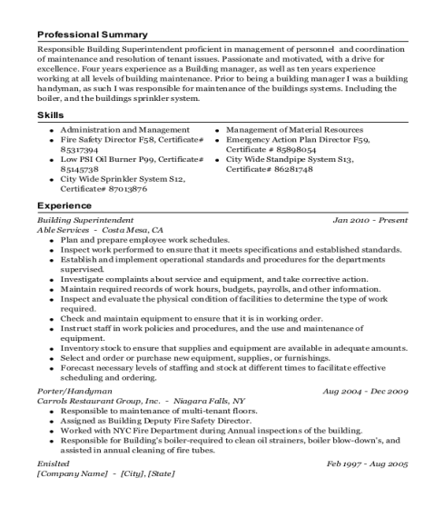 Building Superintendent resume example New Jersey