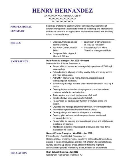 Multi Faceted Manager resume sample New Jersey