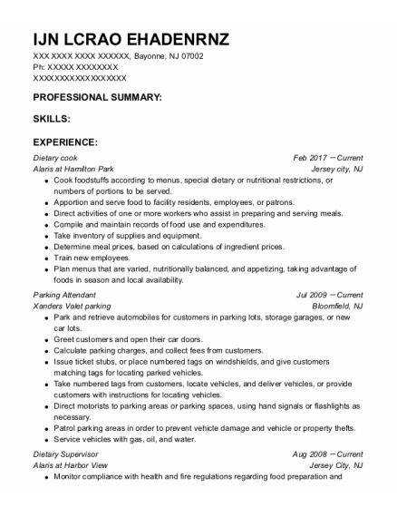 Dietary Cook resume format New Jersey