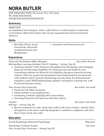 Financial Aid Advisor resume example New Jersey