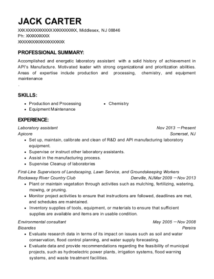 Laboratory assistant resume sample New Jersey