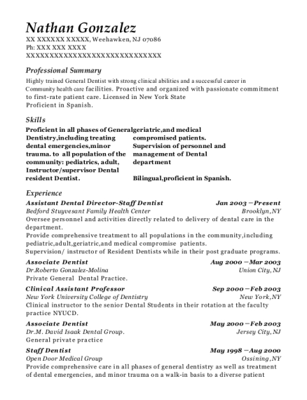Assistant Dental Director Staff Dentist resume example New Jersey