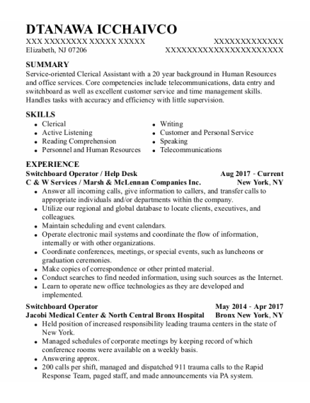 Switchboard Operator resume template New Jersey