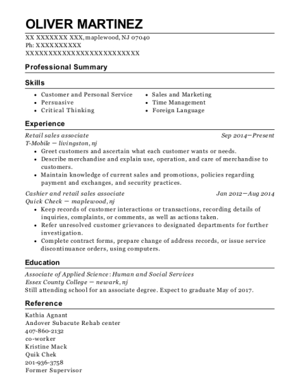 Retail Sales Associate resume example New Jersey