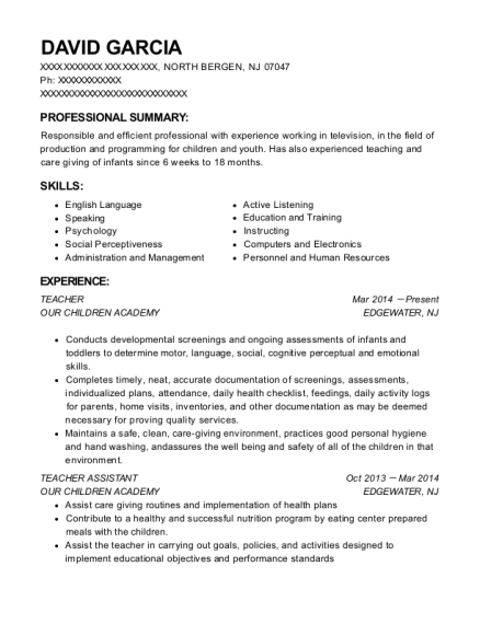 Teacher resume format New Jersey