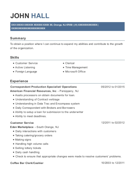 Correspondent Production Specialist resume template New Jersey