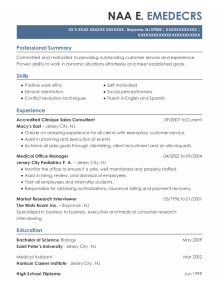 Medical Office Manager resume template New Jersey