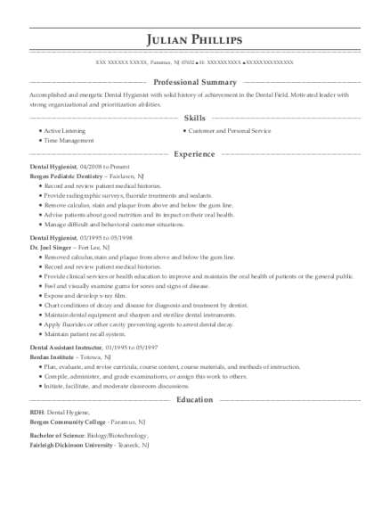 Dental Hygienist resume example New Jersey
